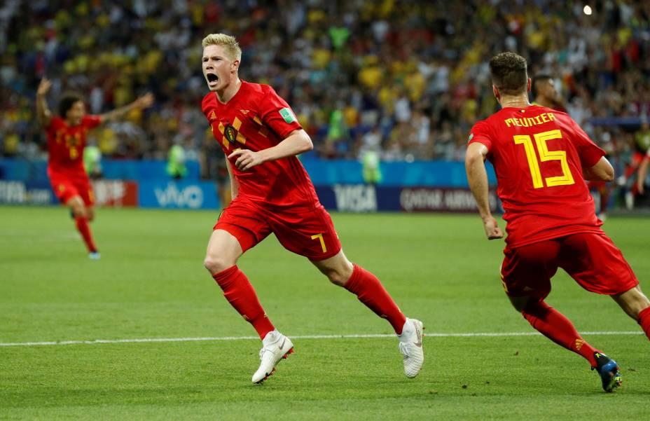 Kevin De Bruyne comemora o segundo gol da Bélgica contra o Brasil na Arena Kazan - 06/07/2018