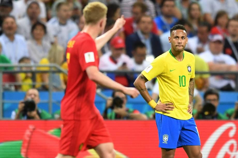 Neymar reage após o gol de De Bruyne - 06/07/2018