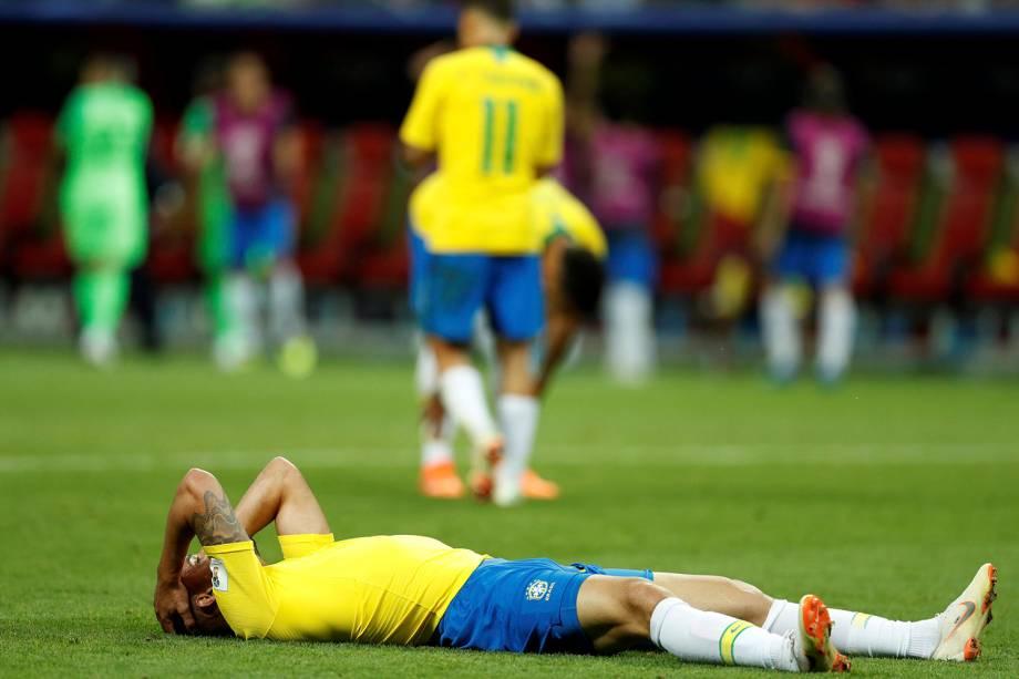 Renato Augusto, do Brasil, reage durante a partida contra a Bélgica, válida pelas quartas de final - 06/07/2018
