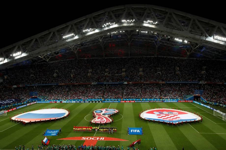 Vista geral do estádio Fisht, que recebe a partida de quartas de final entre Rússia e Croácia - 07/07/2018