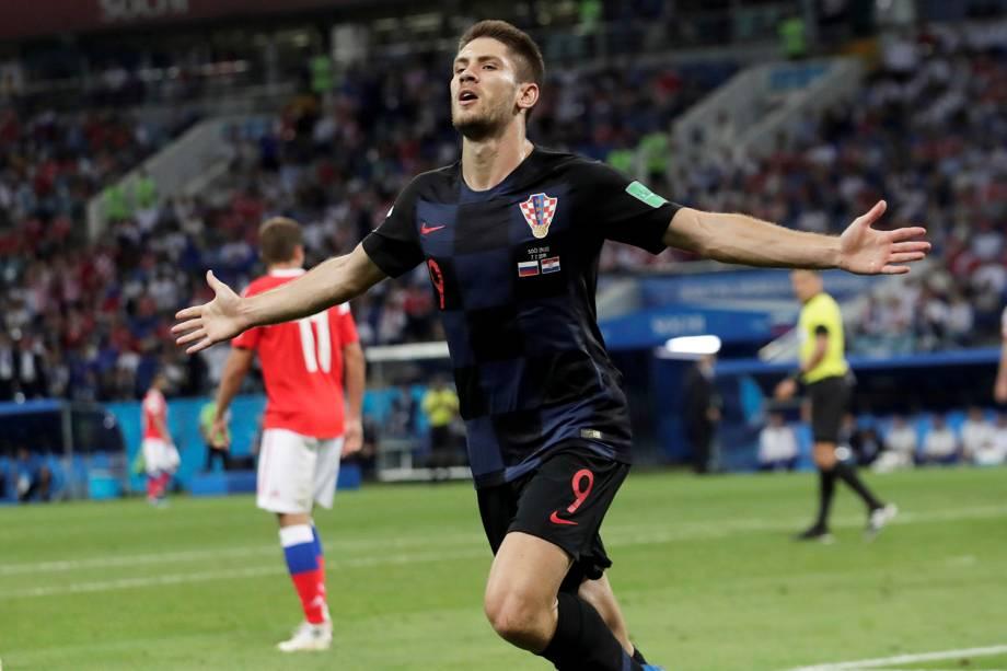 Andrej Kramaric, da Croácia, comemora o gol marcado na partida de quartas de final contra a Rússia - 07/07/2018