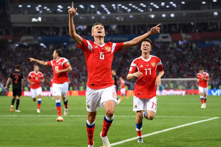 Denis Cheryshev, da Rússia, comemora o gol marcado na partida de quartas de final contra a Croácia - 07/07/2018