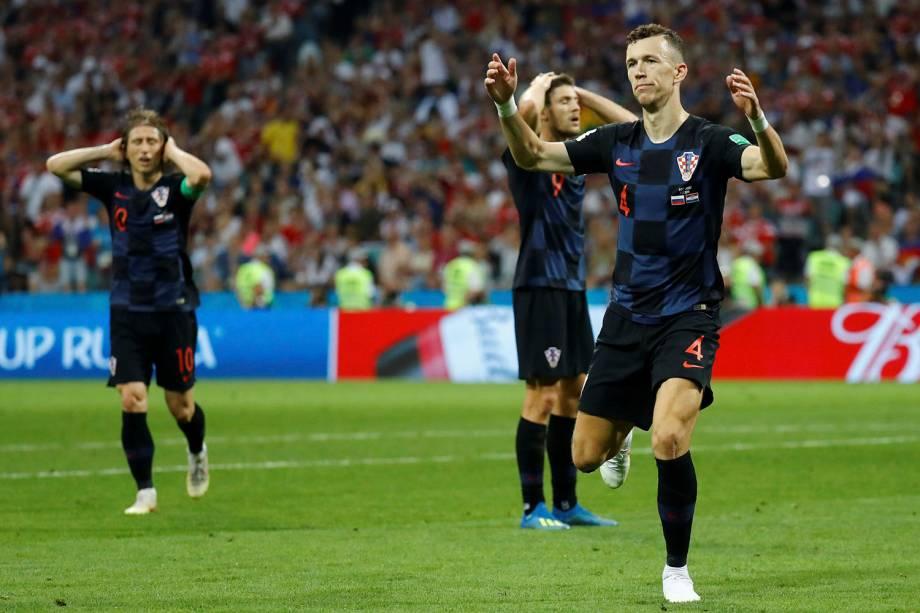 Ivan Perisic, da Croácia, reage após uma tentativa de gol de resvala a trave do gol russo - 07/07/2018
