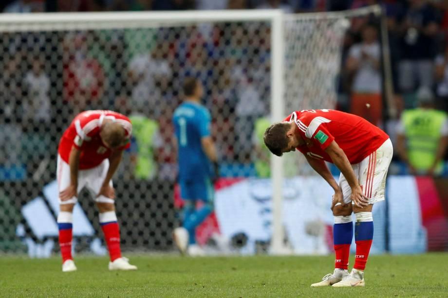 Jogadores russos reagem antes da cobrança de pênaltis - 07/07/2018