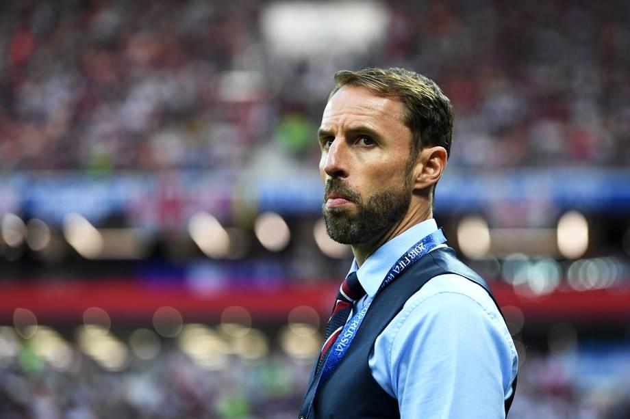 O técnico da Inglaterra, Gareth Southgate, durante partida contra a Croácia, válida pelas semifinais da Copa do Mundo, realizada no Estádio Lujniki, em Moscou - 11/07/2018