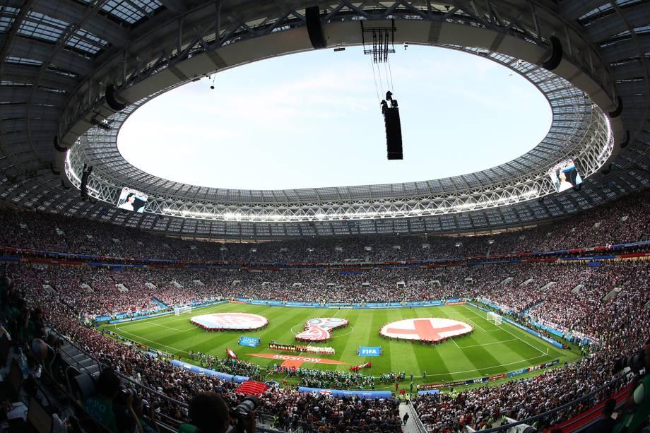 Vista geral do Estádio Lujniki, durante a execução dos hinos nacionais, antes da partida entre Inglaterra e Croácia, válida pelas semifinais da Copa do Mundo - 11/07/2018