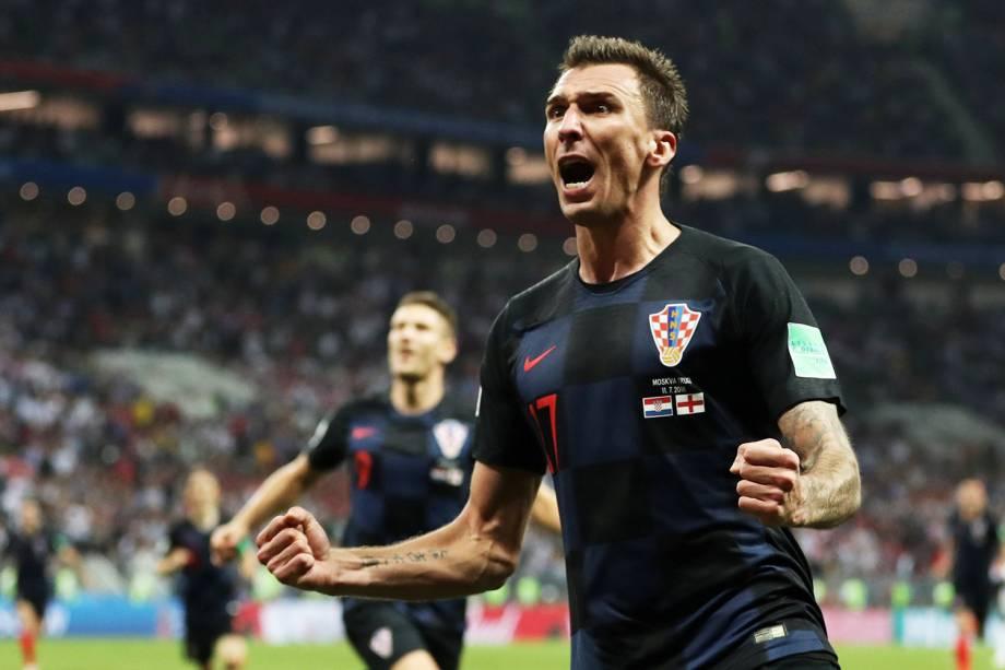 Mario Mandzukic comemora ao marcar o segundo gol da Croácia, durante partida contra a Inglaterra, válida pelas semifinais da Copa do Mundo - 11/07/2018