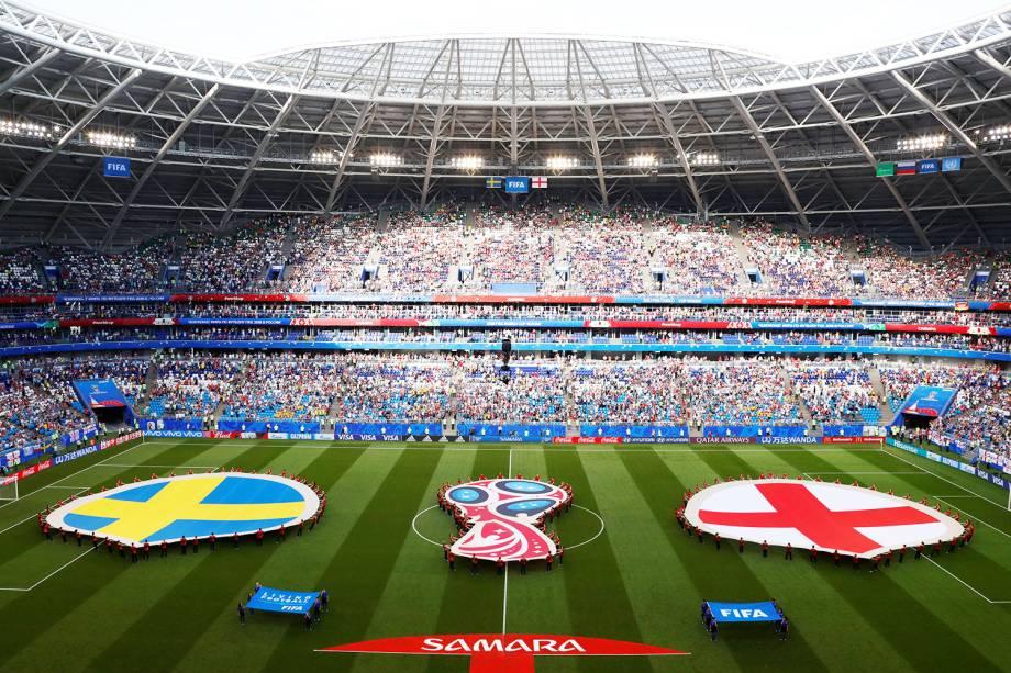 Vista geral da Arena Samara, antes de partida entre Suécia e Inglaterra, válida pelas quartas de final da Copa do Mundo - 07/07/2018