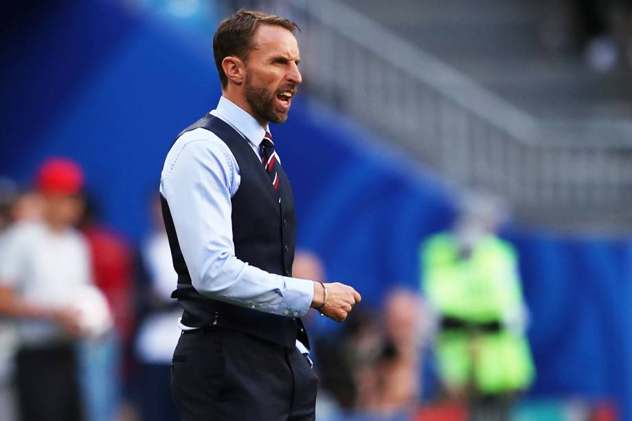 O técnico da Inglaterra, Gareth Southgate, durante partida contra a Suécia, válida pelas quartas de final da Copa do Mundo - 07/07/2018
