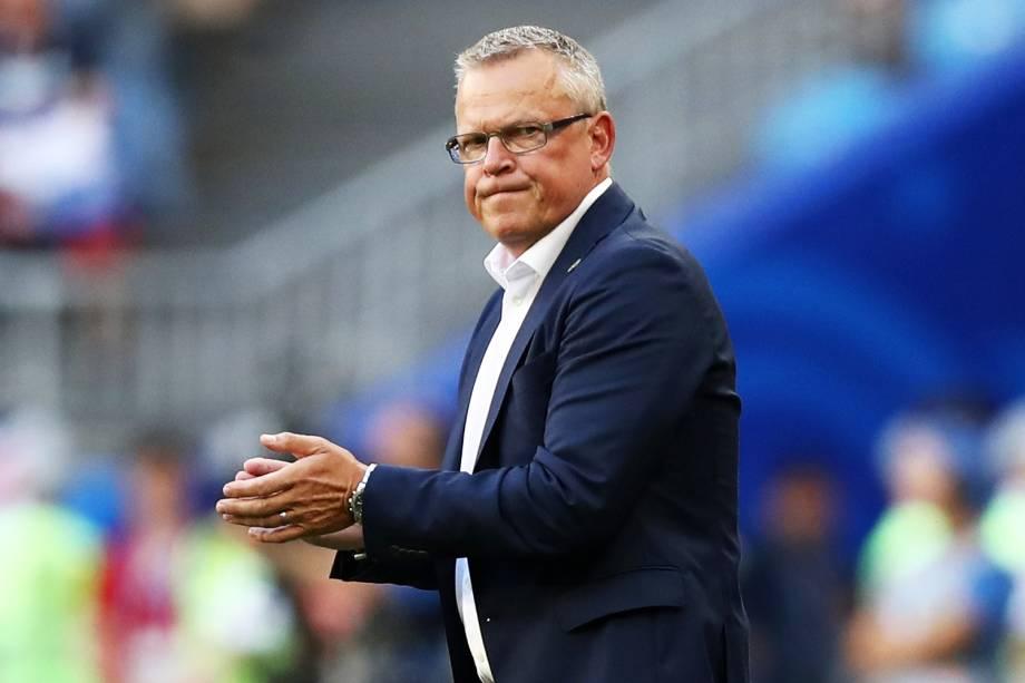 Janne Andersson, técnico da Suécia, durante partida contra a Inglaterra - 07/07/2018
