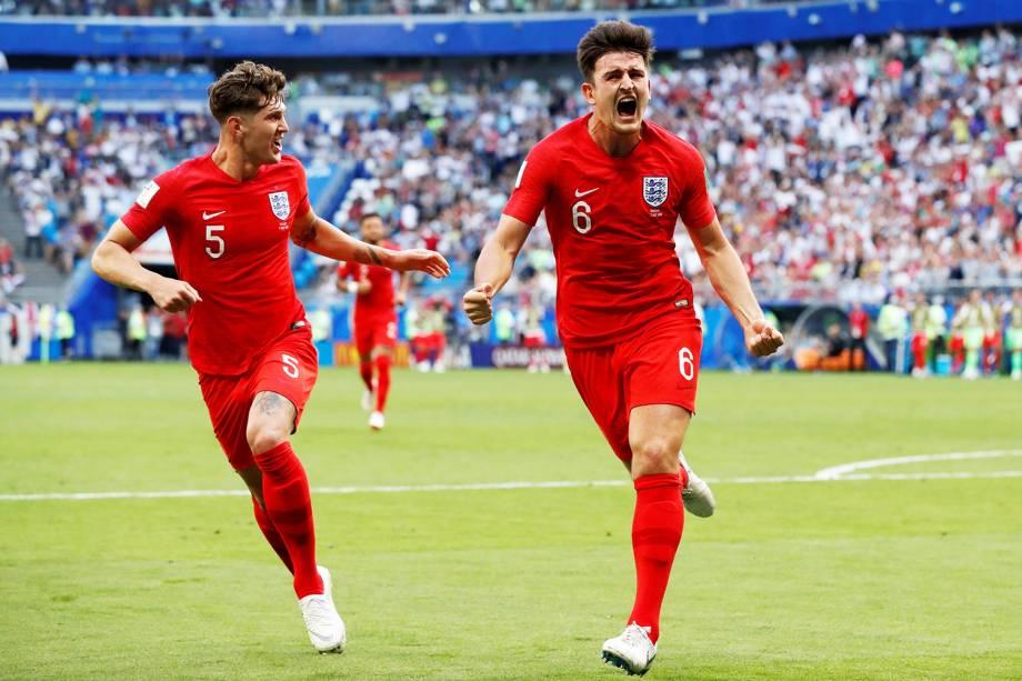 Harry Maguire comemora após marcar gol para a Inglaterra, durante partida contra a Suécia, válida pelas quartas de final da Copa do Mundo, realizada na Arena Samara - 07/07/2018