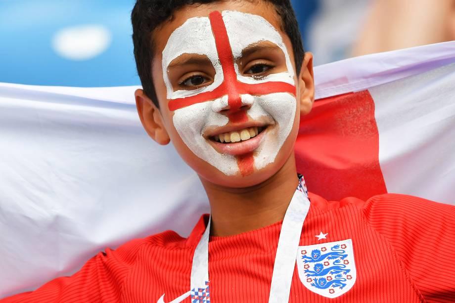 Jovem torcedor da Inglaterra comparece na Arena Samara para assistir partida contra a Suécia, válida pelas quartas de final da Copa do Mundo - 07/07/2018