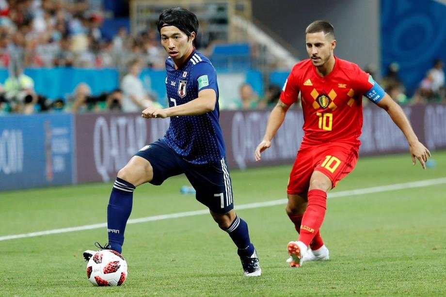 Gaku Shibasaki do Japão durante jogada em partida contra a Bélgica na Arena Rostov - 02/07/2018