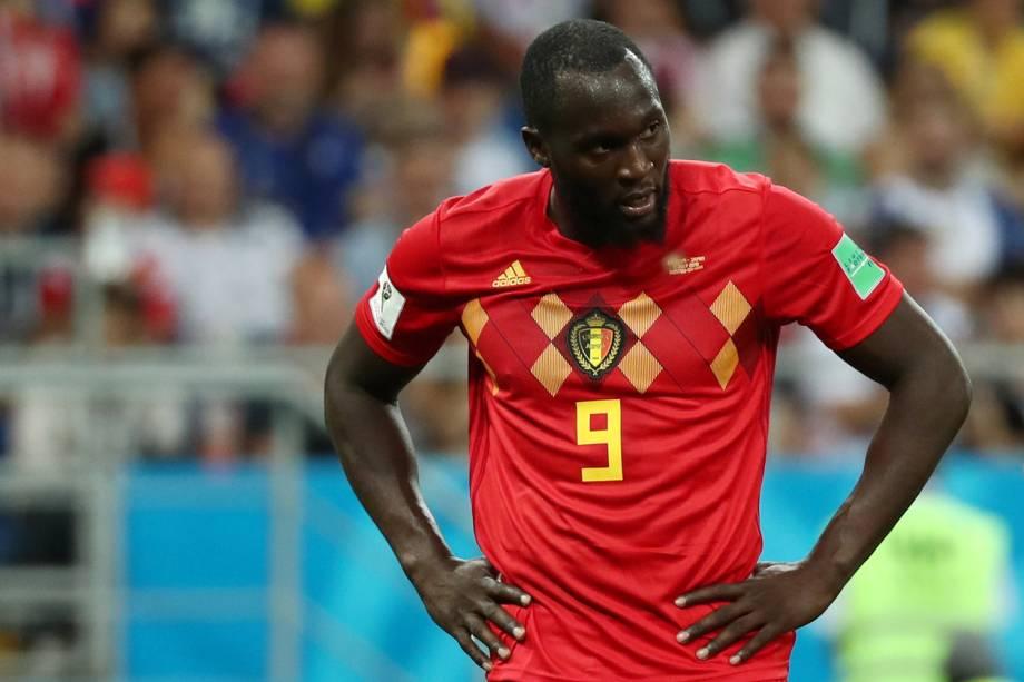 Romelu Lukaku da Bélgica reage após perder chance de marcar gol em partida contra o Japão - 02/07/2018