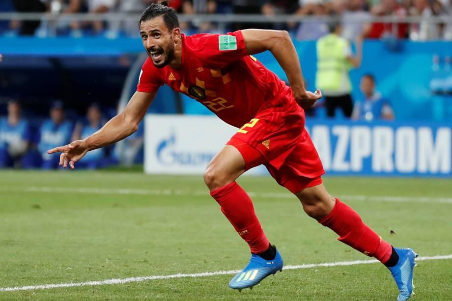 Nacer Chadli da Bélgica comemora seu primeiro gol em partida contra o Japão - 02/07/2018