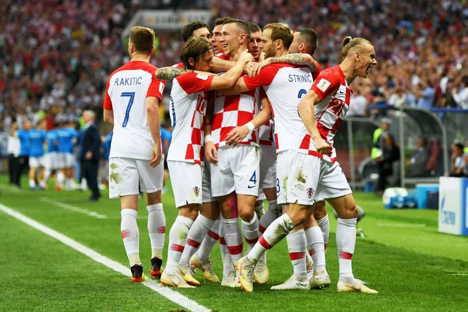Ivan Perisic comemora após marcar o gol de empate da Croácia, em partida contra a França, válida pela final da Copa do Mundo - 15/07/2018