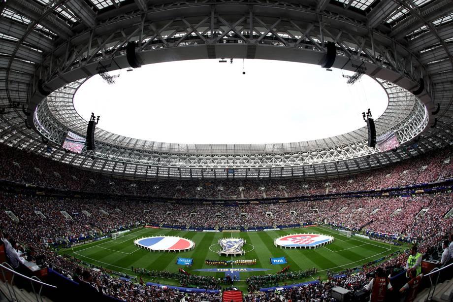 Vista geral do Estádio Lujniki antes do início do confronto entre França e Croácia na Final da Copa do Mundo 2018 - 15/07/2018