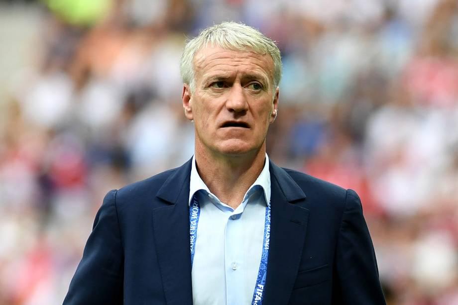O técnico francês Didier Deschamps durante partida contra a Croácia, válida pela final da Copa do Mundo - 15/07/2018