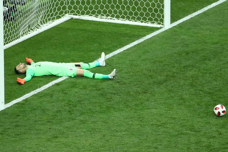 Danijel Subasic da Croácia reage após Paul Pogba marcar terceiro gol da França na Final da Copa do Mundo 2018 - 15/07/2018