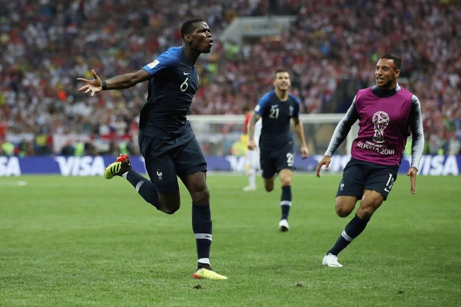 Paul Pogba comemora terceiro gol da França em partida contra a Croácia na Final da Copa do Mundo 2018 - 15/07/2018