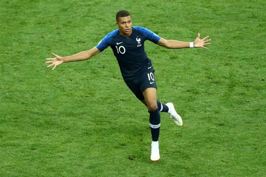 Kylian Mbappe comemora quarto gol da França em partida contra a Croácia na Final da Copa do Mundo 2018 - 15/07/2018
