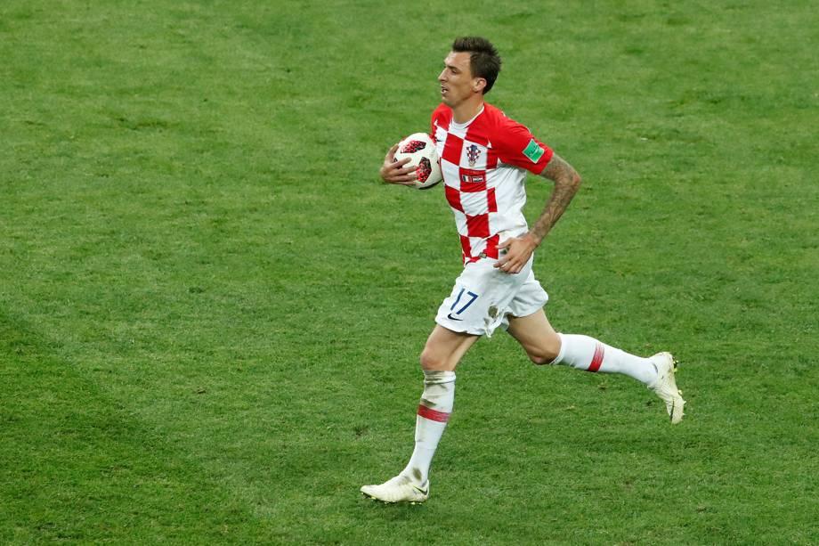 Mario Mandzukic comemora segundo gol da Croácia em partida contra a França na Final da Copa do Mundo 2018 - 15/07/2018