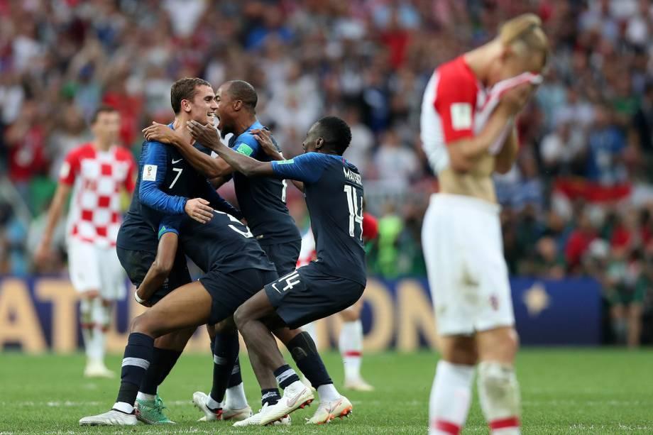 Seleção francesa comemora vitória na Final da Copa do Mundo 2018 no Estádio Lujniki - 15/07/2018