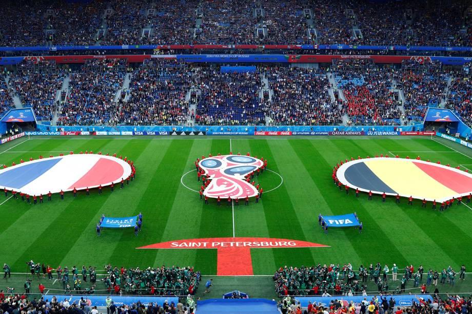 Estádio de São Petersburgo antes de partida entre França e Bélgica para a Semi Final da Copa do Mundo de 2018 - 10/07/2018