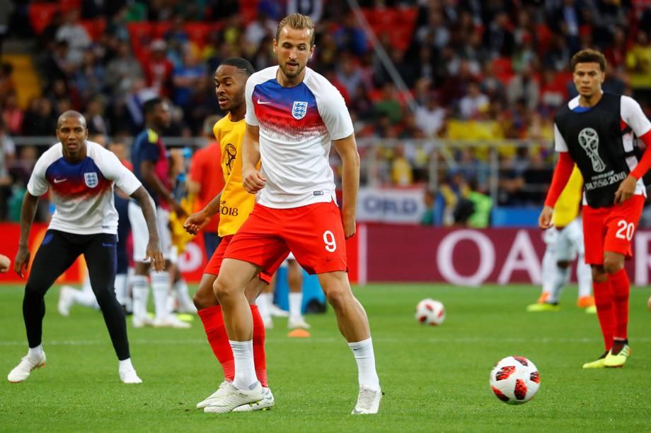 Harry Kane da Inglaterra durante aquecimento antes de partida contra a Colômbia - 03/07/2018
