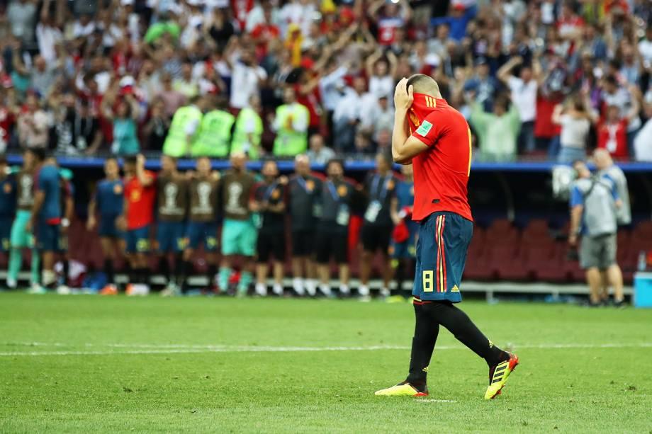 Koke lamenta após perder pênalti, durante partida entre Espanha e Rússia, válida pelas oitavas de final da Copa do Mundo - 01/07/2018