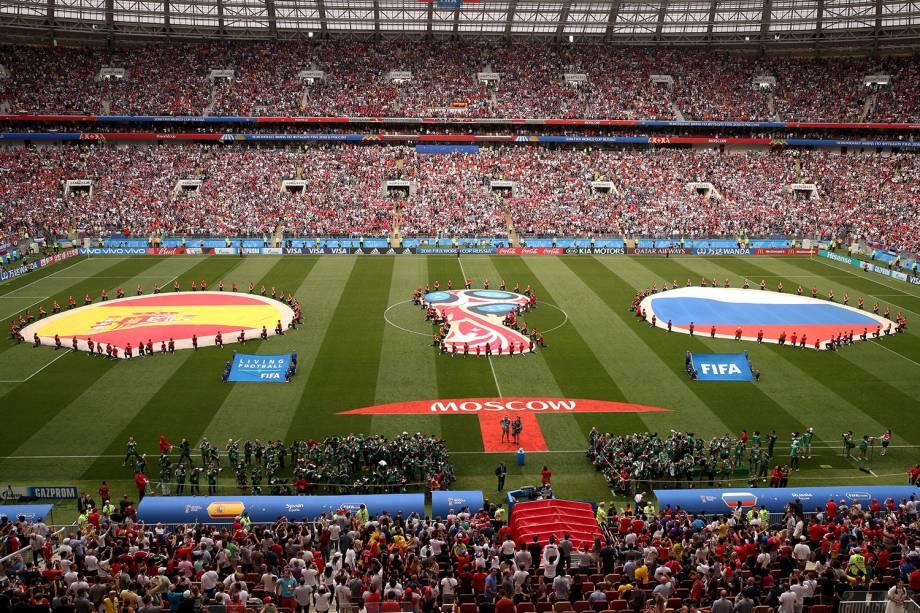Estádio Lujniki antes de início da partida da Espanha contra a Rússia - 01/07/2018