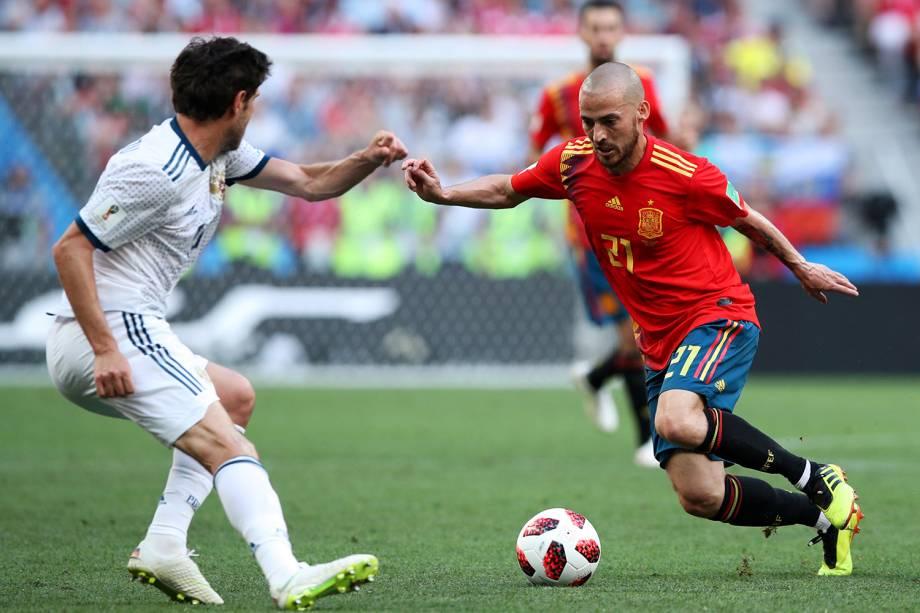 David Silva da Espanha durante jogada em partida contra a Rússia - 01/07/2018