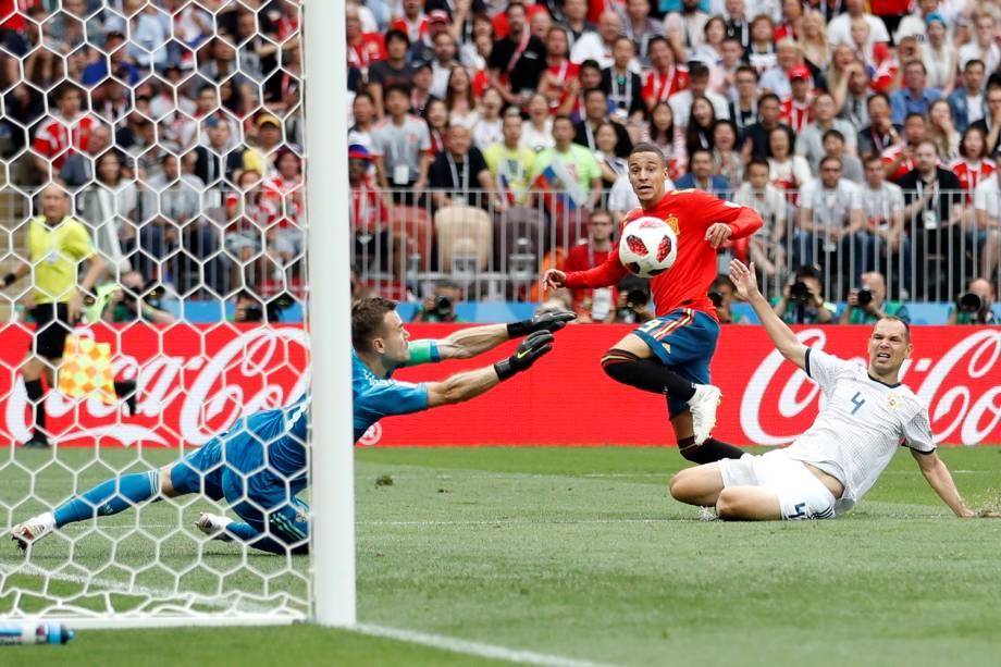 Rodrigo Moreno da Espanha perde chance de marcar gol em partida contra a Rússia - 01/07/2018