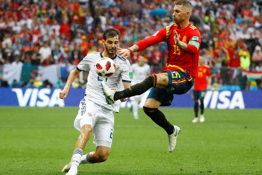 Sergio Ramos da Espanha durante jogada em partida contra a Rússia no Estádio Lujniki - 01/07/2018