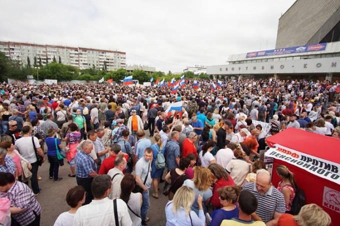Russos protestam contra mudanças na aposentadoria