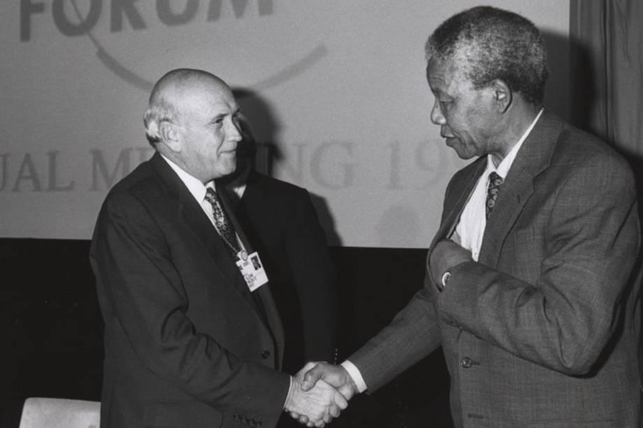 Nelson Mandela Frederik de Klerk seu concorrente para a Presidência da África do Sul