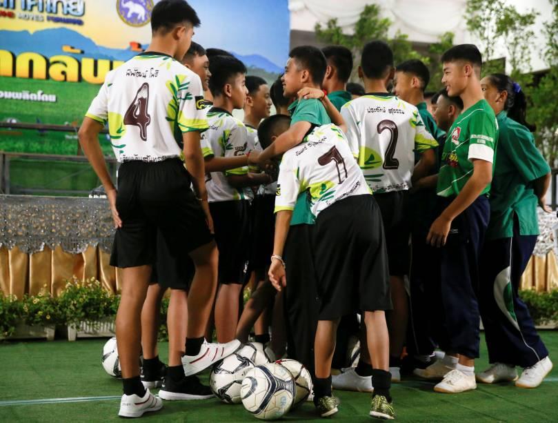 Os 12 adolescentes do time mais seu treinador se perderam nas cavernas de Tham Luang, norte da Tailândia, em 23/6, em meio às chuvas de monção no sudeste asiático. - 18/07/2018