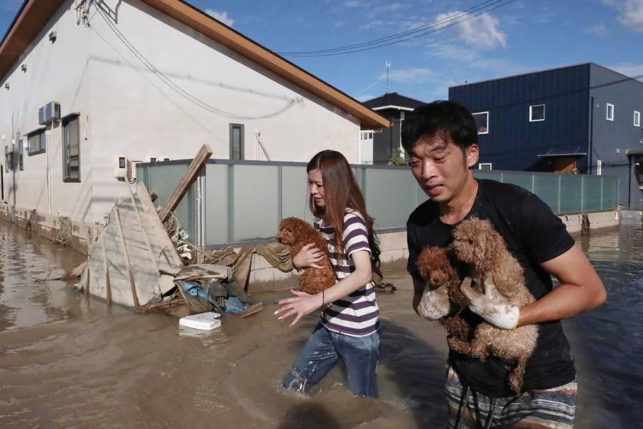 Moradores resgatam cães da área inundada em Kurashiki, Okayama, no Japão - 08/07/2018