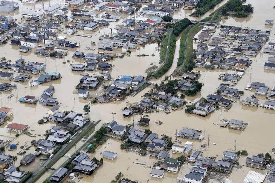 Imagem área mostra área inundada após a chuva pesada em Kurashiki, Okayama, no Japão - 08/07/2018