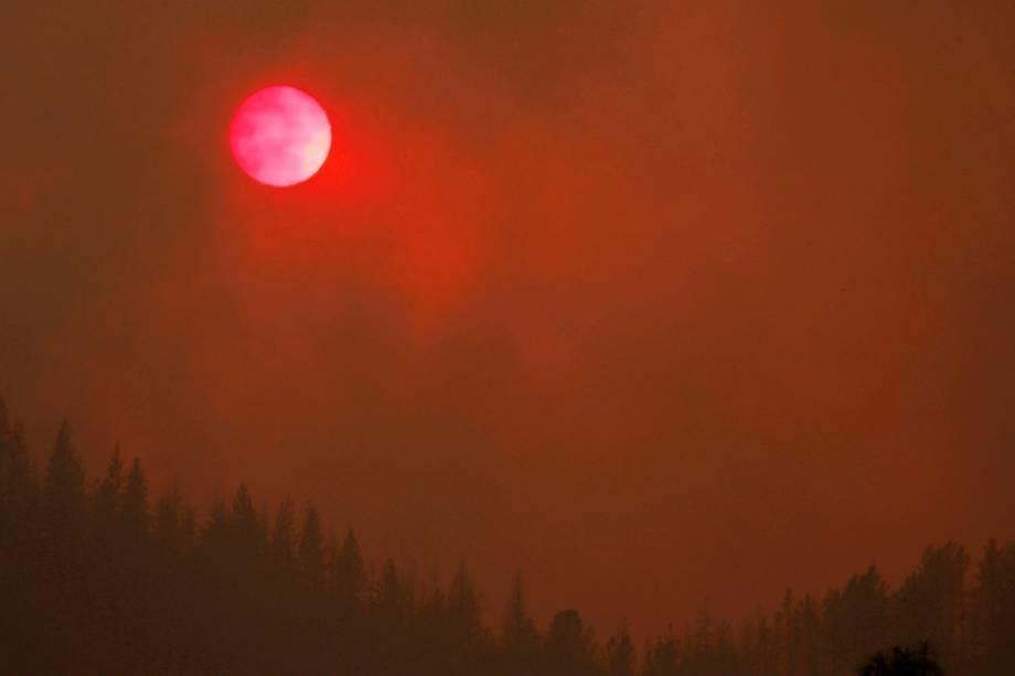 O sol fica rosado enquanto a densa fumaça do incêndio florestal Carr sobre das árvores, na Califórnia - 27/07/2018