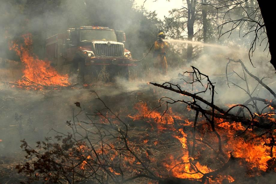 Bombeiro trabalha na tentativa de conter o fogo do incêndio florestal Carr, na cidade de Redding, Califórnia -  28/07/2018