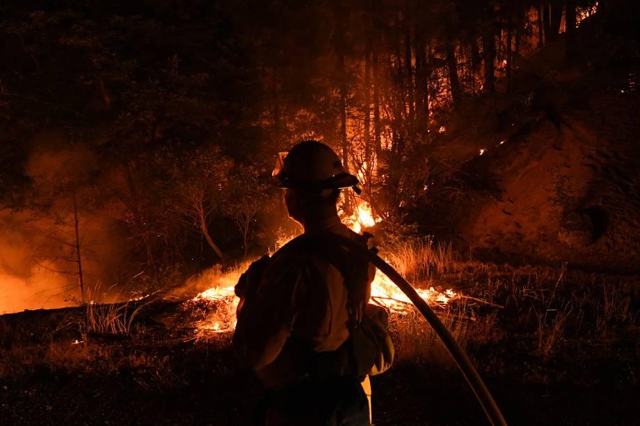 Bombeiro da unidade Lake Forest, tenta conter as chamas do incêndio Carr enquanto se espalha em direção à cidade de Douglas City, perto de Redding, na Califórnia - 30/07/2018