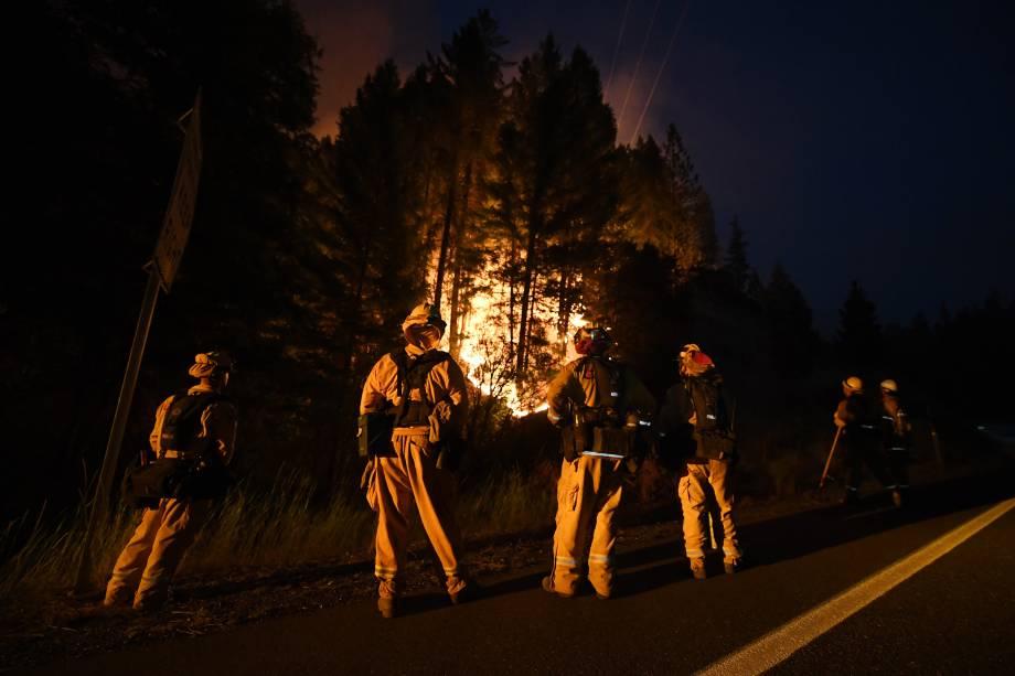 Bombeiros vigiam em uma linha de contenção enquanto as chamas do incêndio Carr continua a se espalhar em direção à cidade de Douglas City perto de Redding, na Califórnia - 30/07/2018