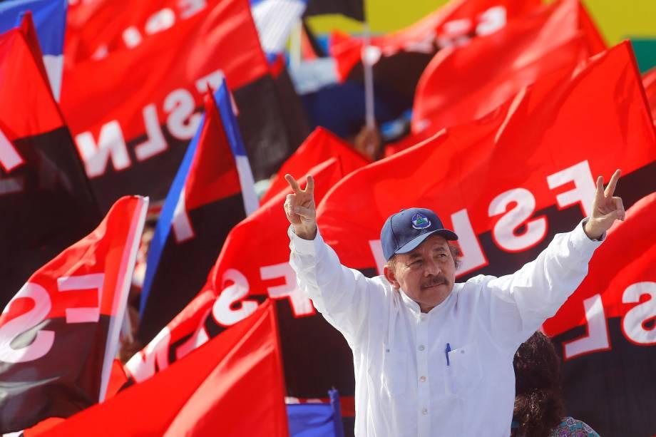 O presidente da Nicarágua, Daniel Ortega, chega para um evento que marca o 39º aniversário da vitória sandinista sobre o presidente Somoza em Manágua, na Nicarágua - 19/07/2018