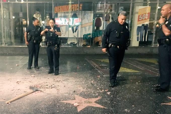 Estrela de Trump é vandalizada na Calçada da Fama em Hollywood