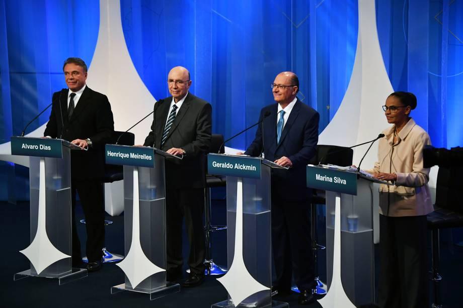 Os candidatos Alvaro Dias (Podemos), Henrique Meirelles (MDB), Geraldo Alckmin (PSDB), e Marina Silva (Rede), durante debate presidencial na RedeTV! - 17/08/2018