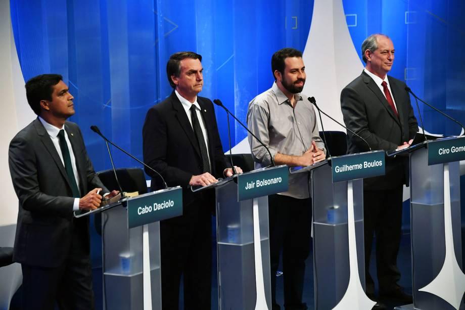 Cabo Daciolo (Patriota), Jair Bolsonaro (PSL), Guilherme Boulos (PSOL) e Ciro Gomes (PDT),  durante debate presidencial na RedeTV! - 17/08/2018