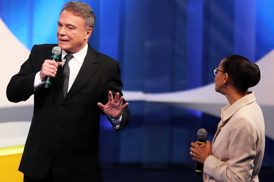 Os candidatos Álvaro Dias (Podemos) e Marina Silva (Rede), durante debate presidencial realizado pela RedeTV! - 17/08/2018