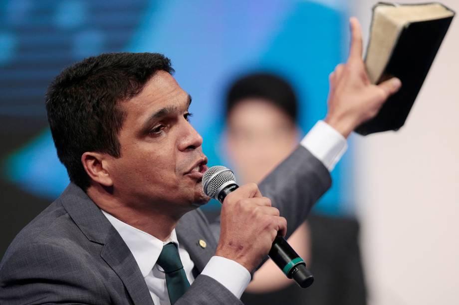 Cabo Daciolo (Patriota), candidato à Presidência da República, durante debate realizado pela RedeTV! - 17/08/2018