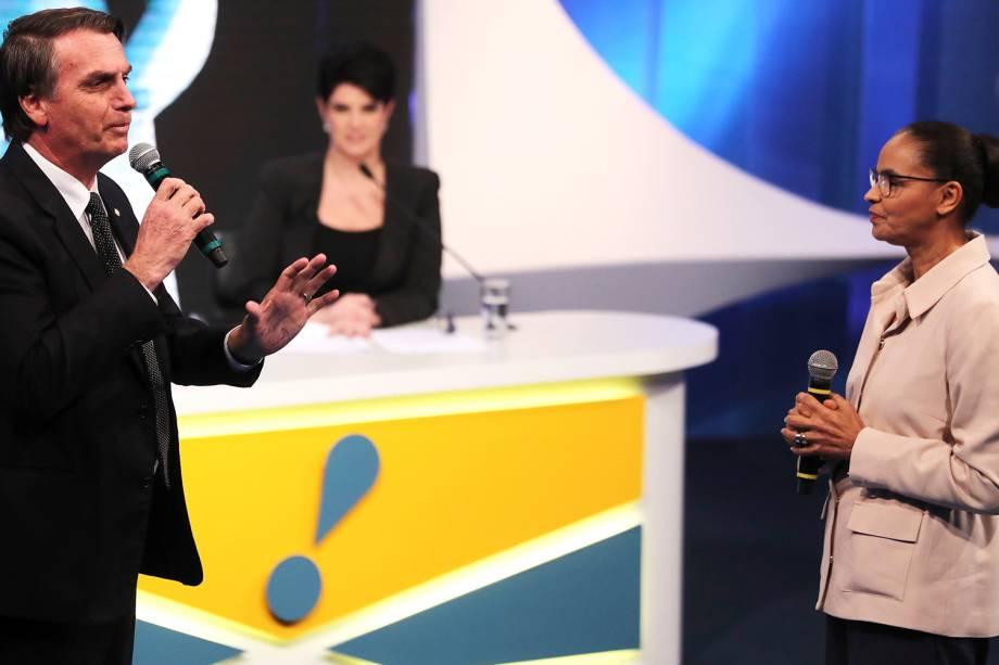 Jair Bolsonaro (PSL) e Marina Silva (REDE), durante debate presidencial realizado pela RedeTV!, em Osasco (SP) - 17/08/2018